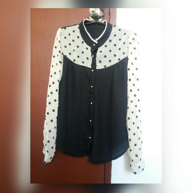 Reprice!!!Polka Dots Long Sleeve(small)