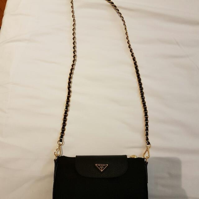 337209c27452 ... usa prada nylon tessuto sling bag on chain luxury bags wallets on  carousell b0c28 6c8ed
