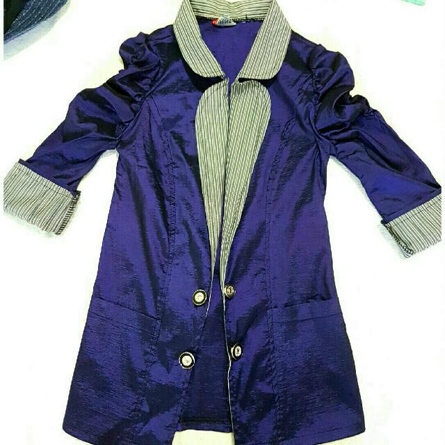 Purple Blazer With Inner Design