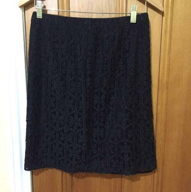 Seed black lace skirt
