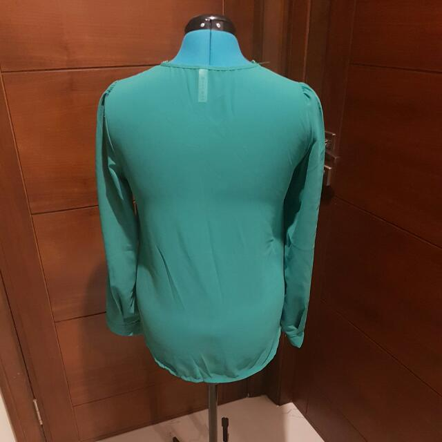 Sheer Green Zip-up Blouse- Size 10-12