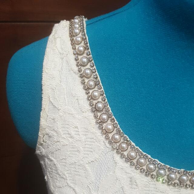 Short White Lace Dress- Size 14