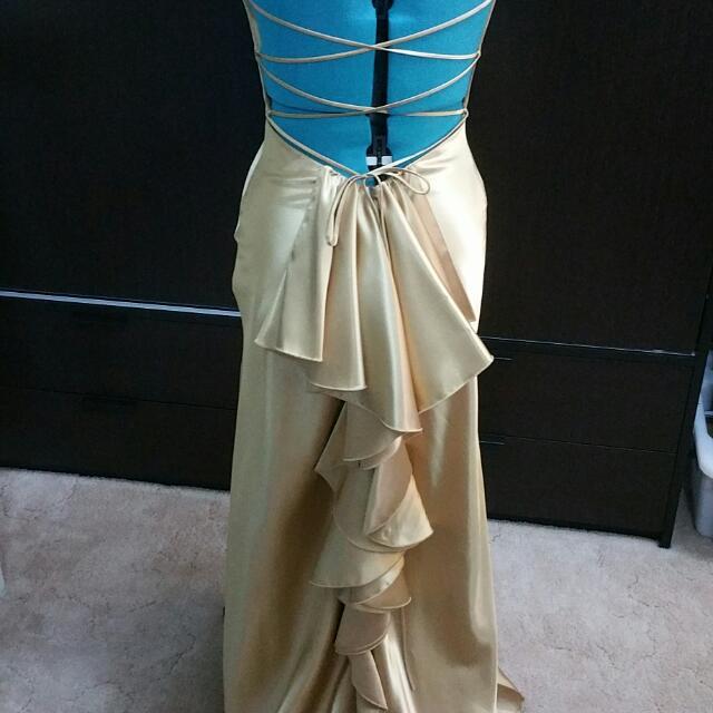 Stunning Backless Gold Ruffle Ball Gown