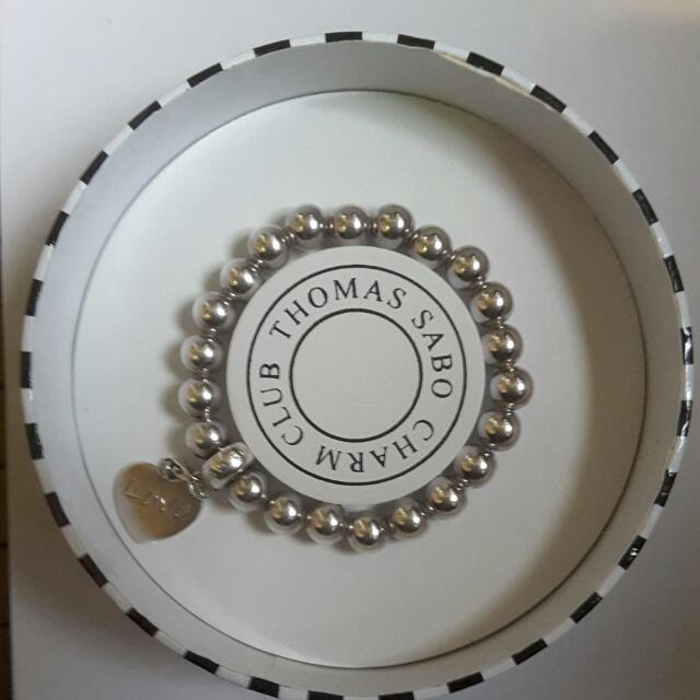 Thomas Sabo Silver Bead Bracelet With Heart Charm