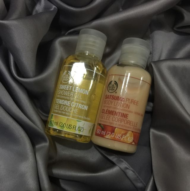 FREE SHIPPING! Travel sized Body Wash And Lotion From The Body Shop