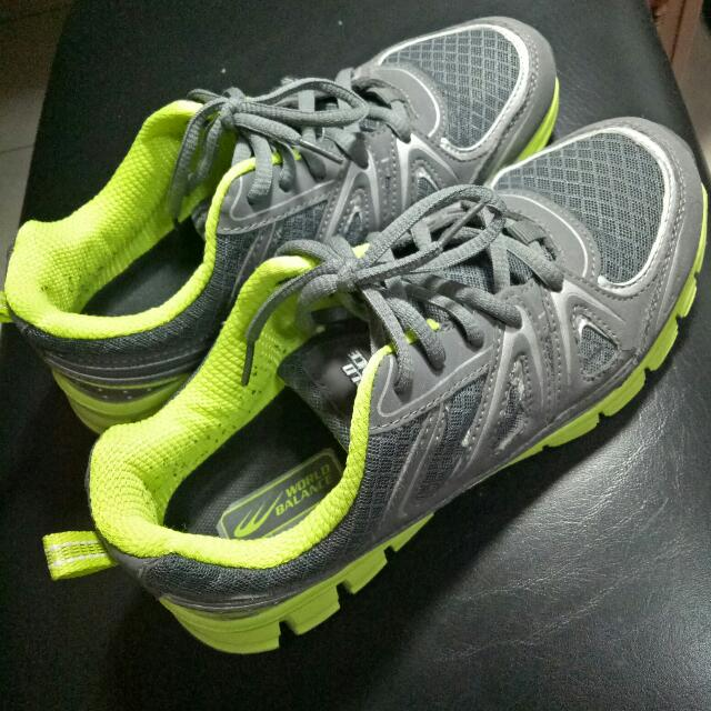World Balance's Gray & Neon Green Rubber Shoes
