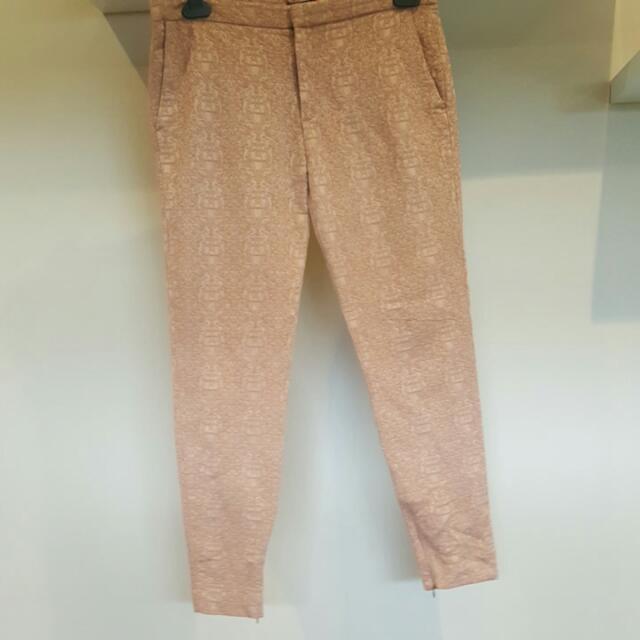 Zara Embroidered Slacks Terracotta Large