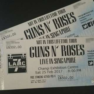 Guns n Roses Live in Singapore Pen A concert tickets (pair) for Feb 25
