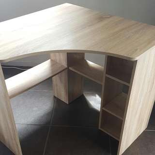 Oak Corner Desk + Book Shelf