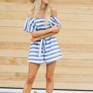 Cotton Striped Playsuit