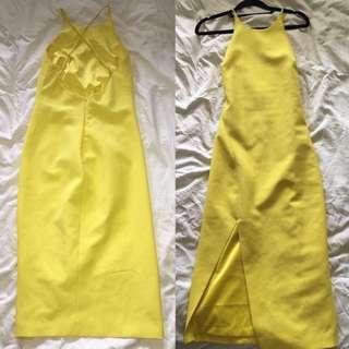 Bardot Yellow Slit Dress Size 8