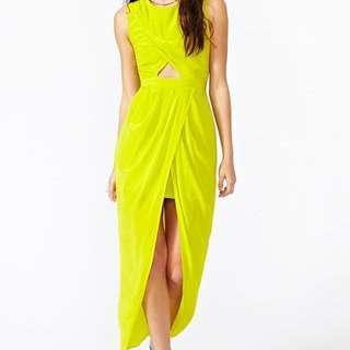 Shakuhachi Lime Petal Wrap dress