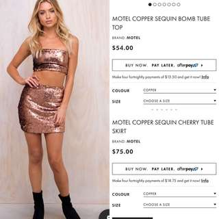 Motel Copper Sequin Skirt And Top Set