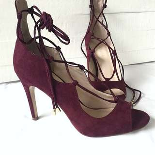 Lace Up Wine Heels Sz39 New!