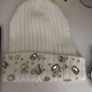 White Beanie With Crystals