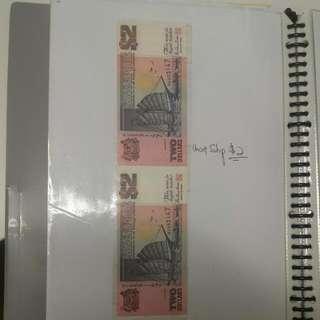 Singapore Purple Currency Uncut