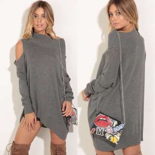 Lucy in the sky Open Shoulder Knit Jumper In Grey Small