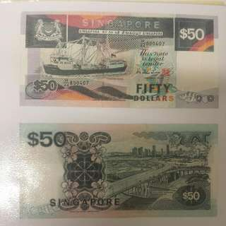 4 Pcs Of Singapore Ship Currency