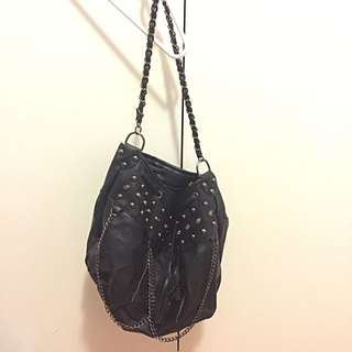 Black Bag With Chains And Skull Embellishments