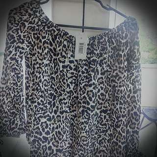 Brand New UK Brand,Leopard Print Off The Shoulder Blouse And Lace Pencil Skirt.