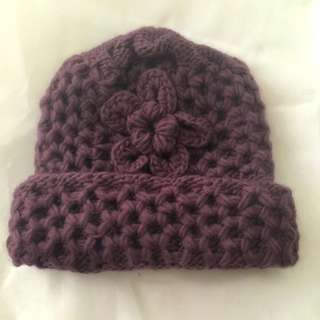 Hand-knitted Beanie With Flower