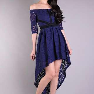 [NEW] Off Shoulder Lace High Low Dress By Curves Boutique