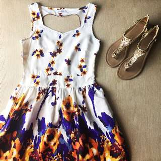 White Floral Dress With A Heart Back Design