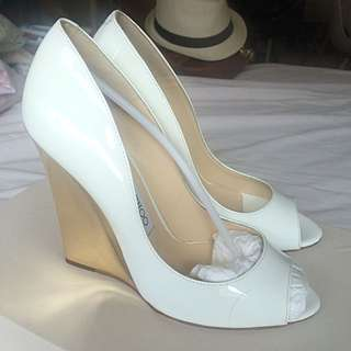 Jimmy Choo Size 36 Patent White Leather Golden Wedge