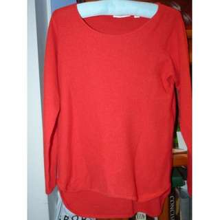 Trenery Medium wool cashmere blend really soft coral bright red colour knit EUC