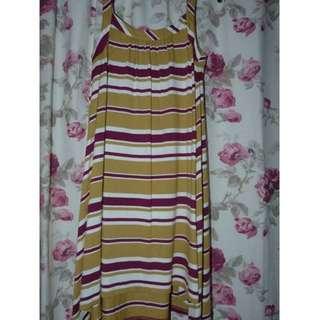 Cue swing beach dress striped Small EUC