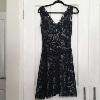 Black and Silver Dress With Black Tuille Overlay