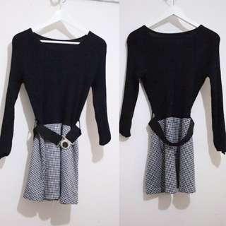 Black Tigertooth Skater Dresss