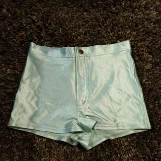 American Apparel teal spandex shorts