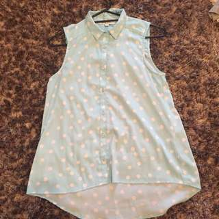 Blue & White Dot Singlet Top