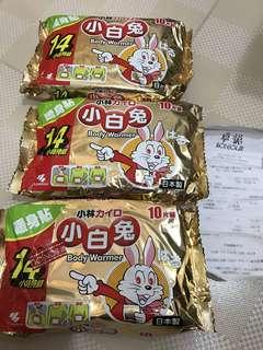 全新日本小林小白兔暖身貼 3包