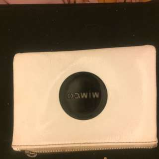 Mimco White Pouch With Black Badge
