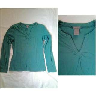 Ann Taylor Apple Green Long-sleeved Blouse