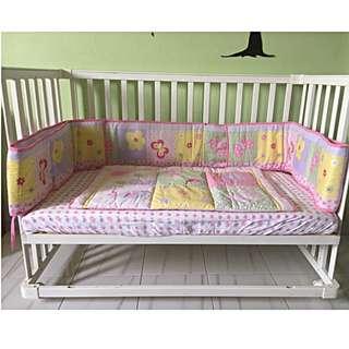 Pink Flower Baby Crib Bedding Set
