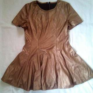 Bronze/Metallic Brown Skater Dress