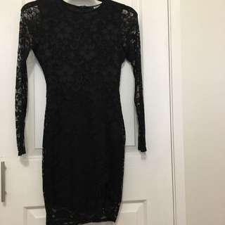 Floral Lace Mini Black Dress