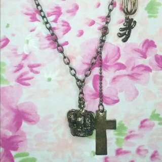 Cross, Crown & Bear Vintage Necklace