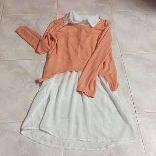 鮮橙色透視上衣