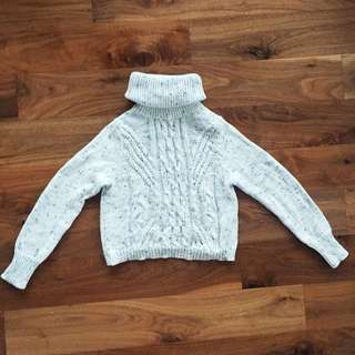 Knitted Turtle Neck Jumper Sweater White Grey Black Speck