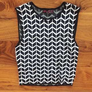 Ally Sleeveless Knit Top Vest Monotone Geometric Black White