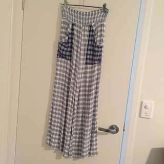 Blue and White High Waisted Flowy Pants