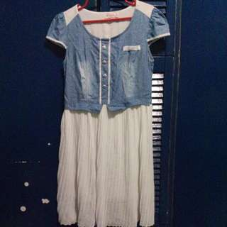 Dress ( Soft Denim Top;Lace Bottom )