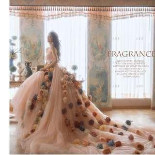 wedding photo studio theme clothing Korean dress long trailing shoulders sexy