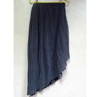 Dark Grey Side Pleated Skirt