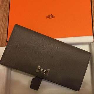 Hermes Bearn Wallet Grey Color 100% New