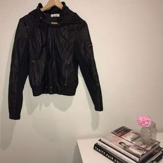 Leather Jacket With Hood | Size 10
